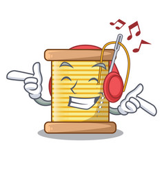listening music thread bobbin isolated on a mascot vector image