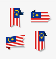 malaysian flag stickers and labels vector image