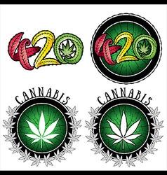 Marijuana leaf design stamps vector image