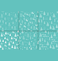 Marry christmas and christmas tree pattern vector
