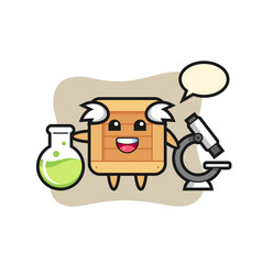 Mascot character wooden box as a scientist vector