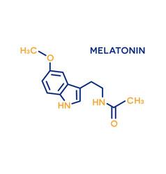 melatonin hormone molecular formula human body vector image