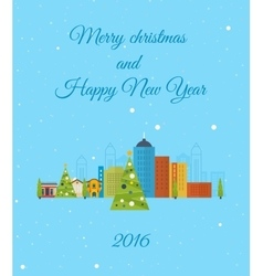 Merry Christmas greeting card design Paris vector image