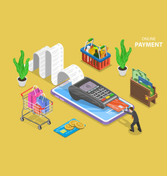 mobile payment flat isometric conceptual vector image