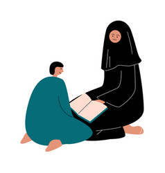 Muslim women and her son sitting and reading koran vector