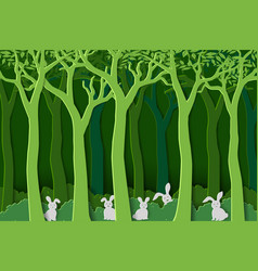 Nature with white rabbits the gang in green forest vector