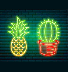 Neon signs and icons cactus and pineapple vector