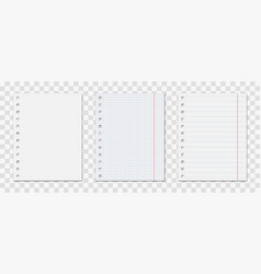 Notepad sheet with holes set vector