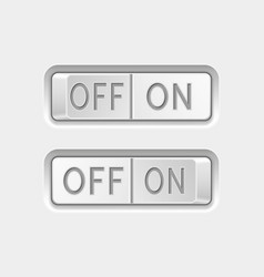 On and off toggle switch buttons white interface vector