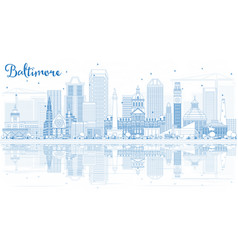outline baltimore skyline with blue buildings and vector image