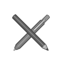 Pencil and pen icon black monochrome style vector image