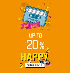 Poster big sale with cassette nineties vector