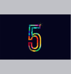rainbow colored number 5 logo company icon design vector image
