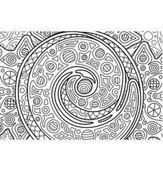 Rectangle cosmic coloring book page with spiral vector