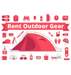 Rent outdoor gear camping gear rental mountain vector