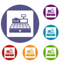 sale cash register icons set vector image