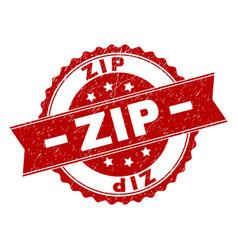 Scratched textured zip stamp seal vector