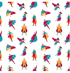 Seamless pattern with superheroes or men and women vector
