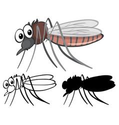 Set mosquito cartoon vector