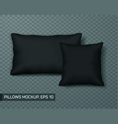set of black pillow mockup or template front view vector image