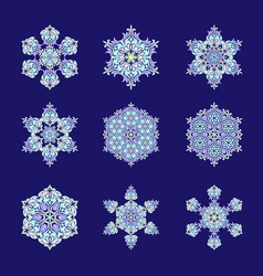 set of nine flat design with abstract snowflakes vector image