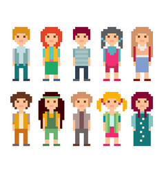 Set of pixel art style characters vector