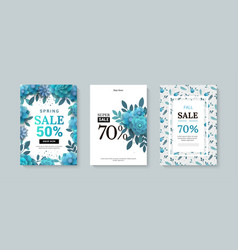 set of sale banner with paper flowers on a white vector image