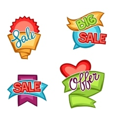 Set of sale banners tags and labels in cartoon vector image
