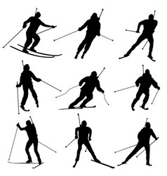 Set of silhouettes biathletes vector