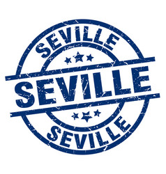 Seville blue round grunge stamp vector