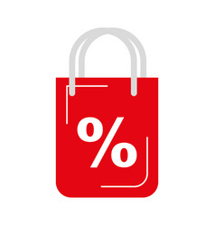 shopping bag with percent symbol vector image