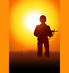silhouette a soldier vector image