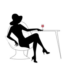 Silhouette of woman with hat drinking white wine vector