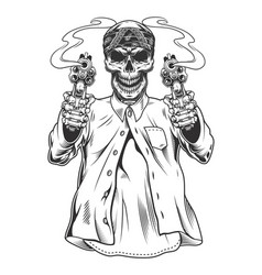 skeleton gangster with revolvers vector image