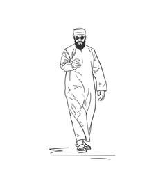Sketch of muslim arabic man in traditional vector