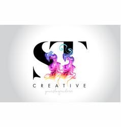 St vibrant creative leter logo design vector