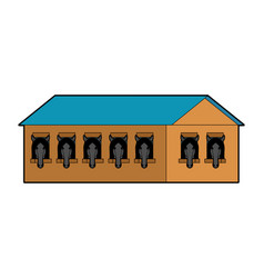 Stable isolated stabling horse wooden house vector