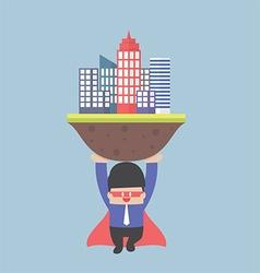 Super businessman carrying city vector