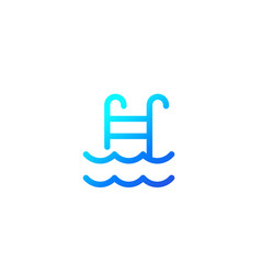 swimming pool icon line vector image
