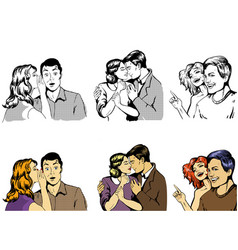 Three couples together whispering hugging and vector
