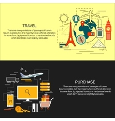 Travel and online shopping concept banners in line vector