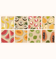 trendy set minimalistic summer tropical fruit vector image