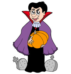 Vampire with pumpkin vector