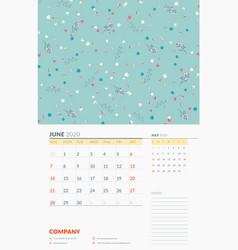 Wall calendar template for june 2020 week starts vector