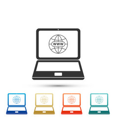 website on laptop screen icon on grey background vector image