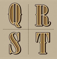 Western alphabet letters vintage design q r s vector