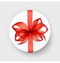 White Gift Box with Transparent Red Scarlet Bow vector