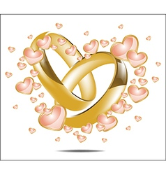 with wedding rings and Hearts vector image vector image