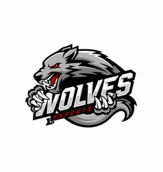 Wolf e-sports logo design vector