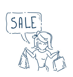 Woman with purchases shopping sale concept vector